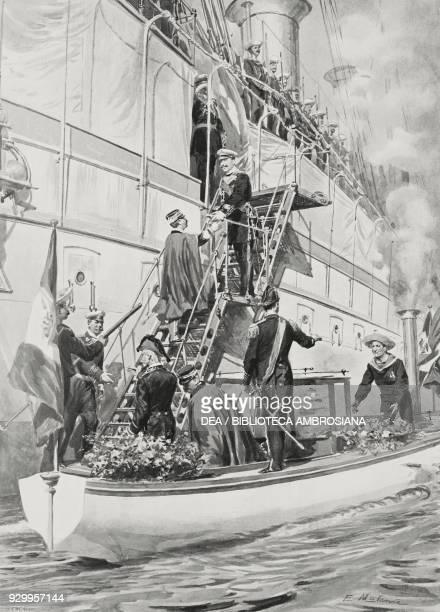 Vittorio Emanuele III meets Wilhelm II in Naples Italy drawing by Edoardo Matania from L'Illustrazione Italiana Year XXXII No 16 April 16 1905