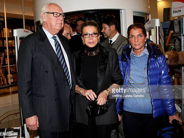 Vittorio Emanuele of Savoia Marina Doria and Clarissa Melzi D'Eril attend the launch of Emanuele Filiberto's book 'C'era una volta un principe' on...