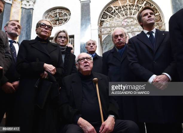 Vittorio Emanuele of Savoy his son Emanuele Filiberto of Savoy and his wife Marina Doria take part in a private ceremony to pay tribute to Victor...