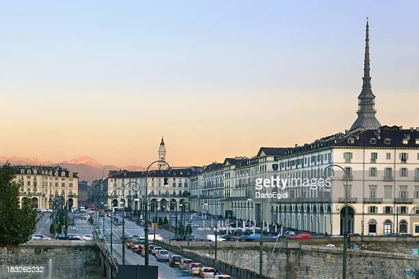 Vittorio Emanuele Square, Mole Antonelliana and mountains on background, Turin