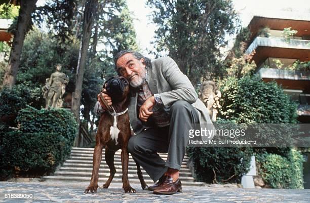 Vittorio Gassman and his dog