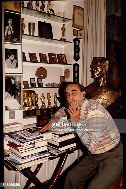 Vittorio Gassman at home in Rome