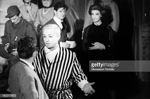 Vittorio Gassman is Kunt the Martian arrived in Rome with a striped black and white dressing gown in the play 'Un marziano a Roma' the opening night...