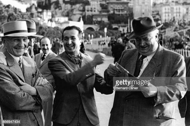 Vittorio Jano, Alberto Ascari, Alfred Neubauer, Grand Prix of Monaco, Circuit de Monaco, 22 May 1955. Nino Farina with famous engineer Vittorio Jano...