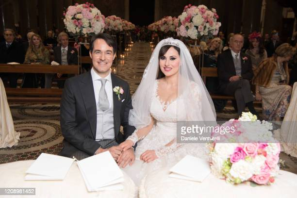 Vittorio Palazzi Trivelli And Isabelle Adriani attend the wedding of Earl Vittorio Palazzi Trivelli And Isabelle Adriani on February 22 2020 in Rome...