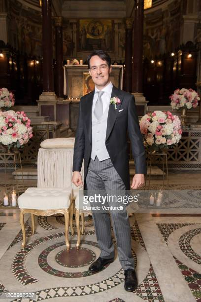 Vittorio Palazzi Trivelli attends the wedding of Earl Vittorio Palazzi Trivelli And Isabelle Adriani on February 22 2020 in Rome Italy