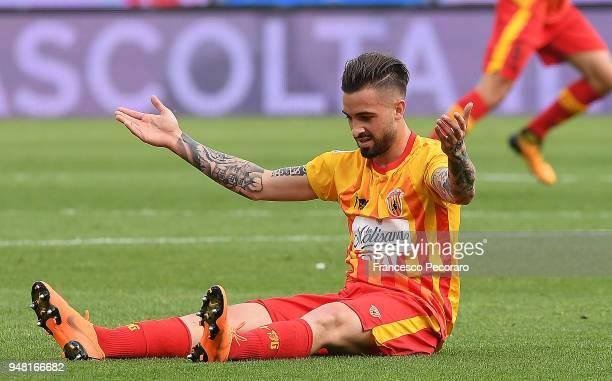 Vittorio Parigini of Benevento Calcio stands disappointed during the serie A match between Benevento Calcio and Atalanta BC at Stadio Ciro Vigorito...