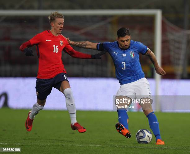 Vittorio Parigini of Italy U21 competes for the ball with Dennis Torset Johsen of Norway during the international friendly match between Italy U21...