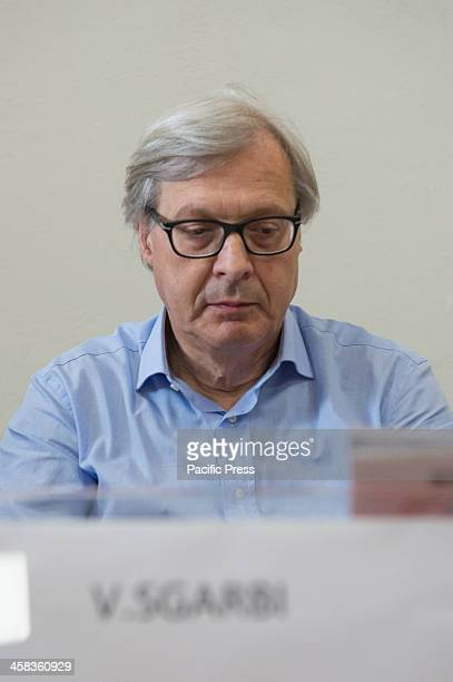 Vittorio Sgarbi famous Art Critic during the press conference for the return of the Purpureus Codex returned after Rossano restoration lasted 4 years...