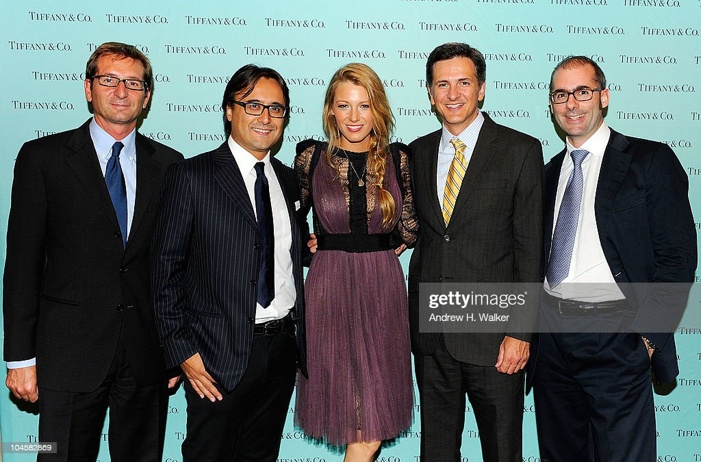 Vittorio Verdun, Antonio Miyakawa, Blake Lively, Victor Melendez and Andrea Dorigo the Spring 2011 Eyewear collection at Tiffany & Co. on September 30, 2010 in New York, City.