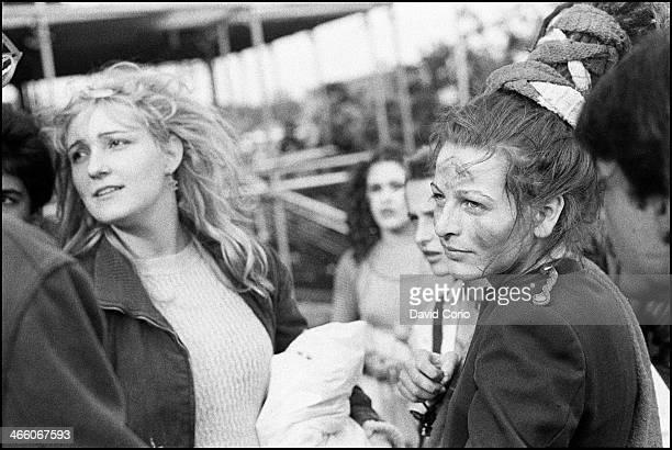 Viv Albertine and Ari Up of The Slits backstage at Alexandra Palace London UK on 15 June 1980