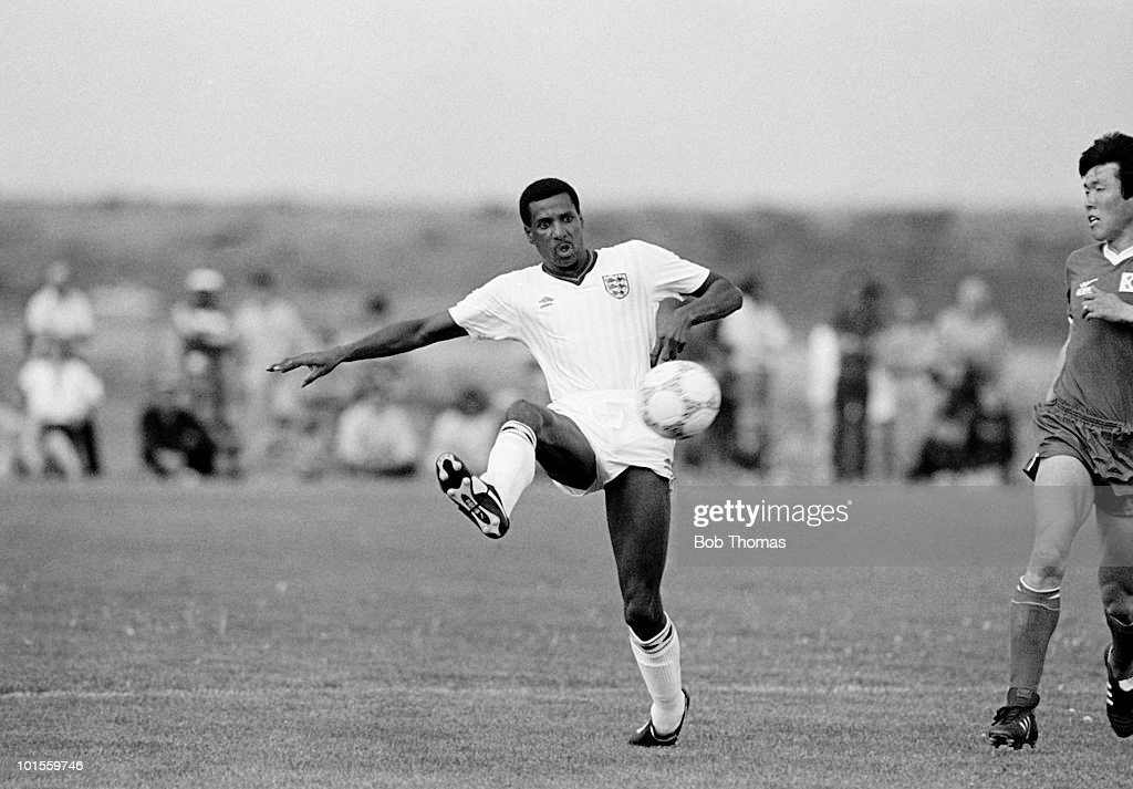Viv Anderson of England in action during a pre-World Cup friendly International football match against South Korea held at Fountain Valley High School in Colorado Springs, Colorado, USA on 14th May 1986. England beat South Korea 4-1. (Bob Thomas/Getty Images).