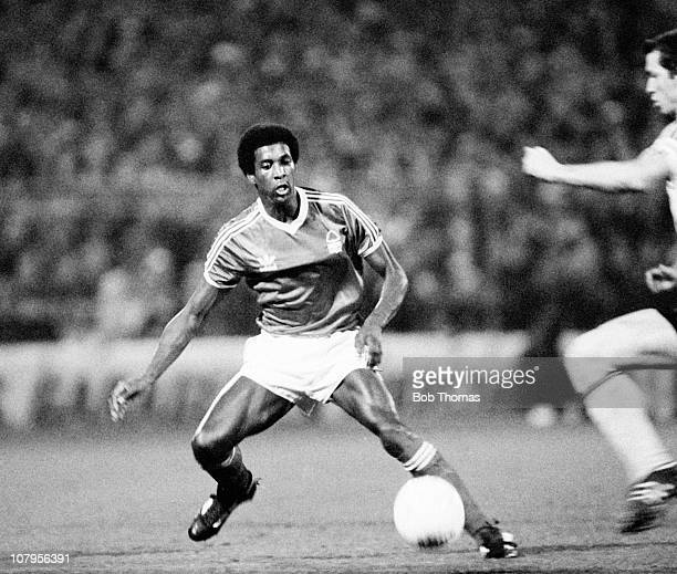 Viv Anderson of Nottingham Forest in action during the Euroopean Cup 2nd round 2nd leg match against AEK Athens at the City Ground in Nottingham on...