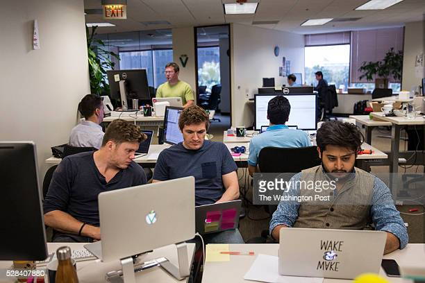 Viv Labs employees work at their desks in San Jose California on May 3 2016 Dag Kittlaus CEO and cofounder of Viv Labs and his team previously built...
