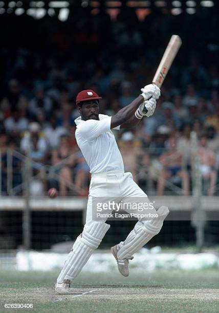 Viv Richards batting for West Indies during his innings of 182 in the 3rd Test match between West Indies and England at the Kensington Oval,...