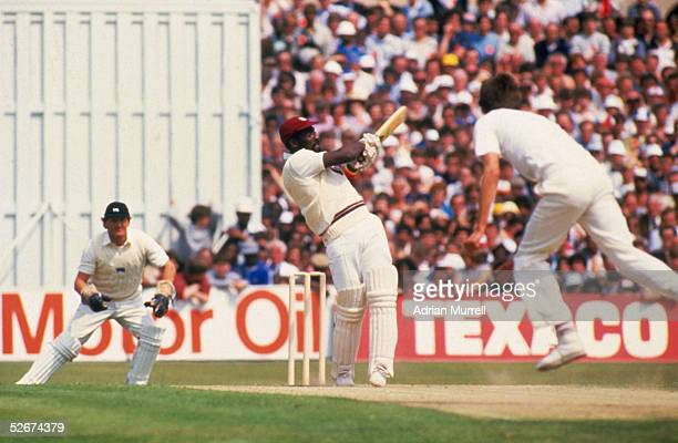 Viv Richards of the West Indies hits out on his way to 189 not out during the Texaco Trophy 1st Oneday International match between England and the...