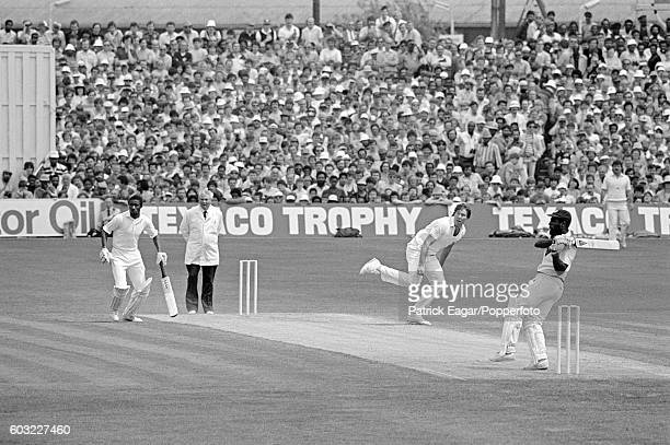 Viv Richards of West Indies hits a ball from Derek Pringle of England to the boundary during his 189 not out in the 1st Texaco Trophy One Day...