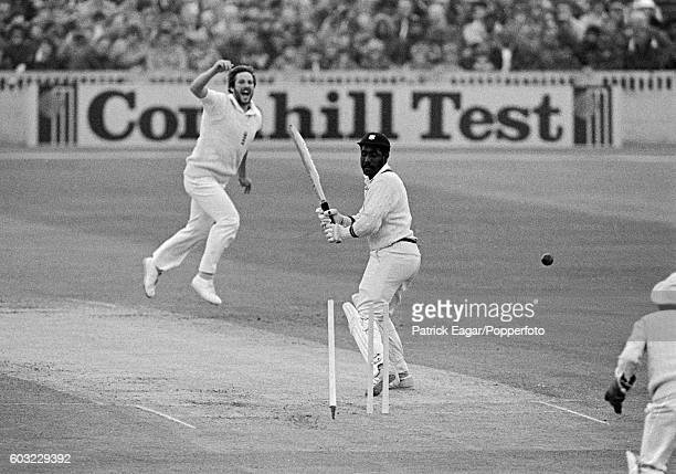 Viv Richards of West Indies is bowled by Ian Botham of England during the 3rd Test match between England and West Indies at Old Trafford, Manchester,...