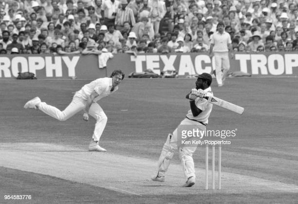 Viv Richards of West Indies pulls a delivery from England bowler Derek Pringle during his innings of 189 not out in the 1st Texaco Trophy One Day...