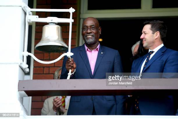 Viv Richards rings the bell prior to the start of the T20 match between ICC World XI and West Indies at Lord's Cricket Ground on May 31, 2018 in...