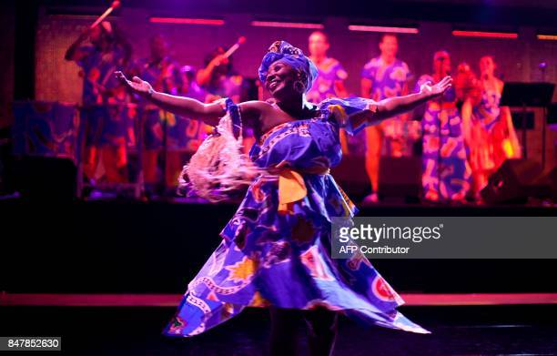 Viva Brazil Dance company performer dances at the Getty Museum's opening celebration for the Pacific Standard Time: LA/LA exhibit late in Los Angeles...