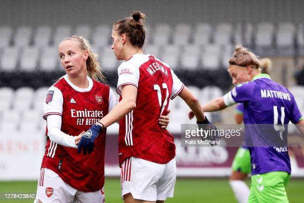 Vivanne Miedema of Arsenal FC celebrates with Beth Mead of Arsenal FC after scoring her sides 3rd goal during the Barclays FA Women's Super League...