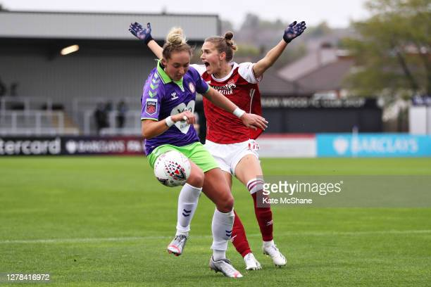 Vivanne Miedema of Arsenal FC reacts towards the match referee appealing for a hand ball after a collision with Amy Palmer of Bristol City during the...