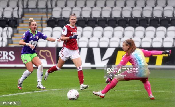 Vivanne Miedema of Arsenal FC scores her side's 3rd goal during the Barclays FA Women's Super League match between Arsenal and Bristol City at Meadow...