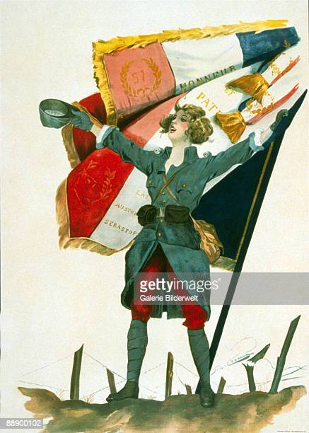 'Vive la France' A young woman in a military uniform stands beside the French flag during World War I 1918 Artwork by F A Crepaux