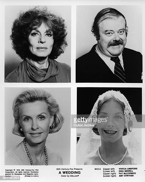 """Viveca Lindfors and Pat McCormick pose Dina Merrill and Amy Stryker pose for the 20th Century Fox movie """"A Wedding"""" circa 1978."""
