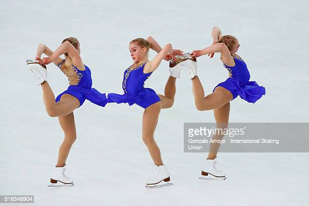 Viveca Lindfors from Finland skates during the Ladie's short program of the ISU World Junior Figure Skating Championships 2016 at The Fonix Arenaon...