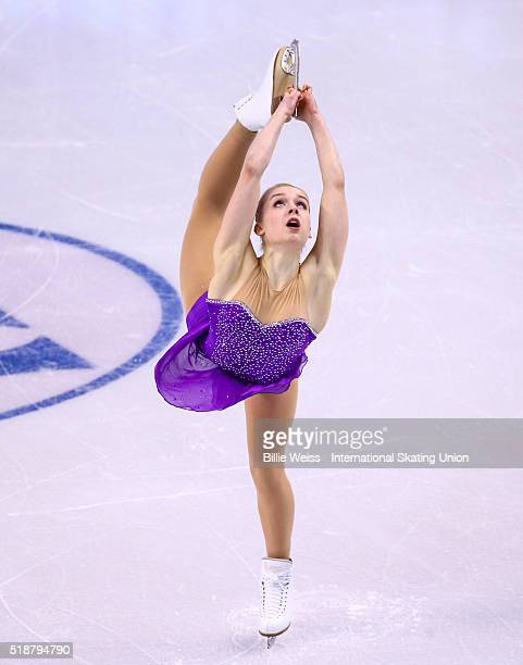 Viveca Lindfors of Finland competes during Day 6 of the ISU World Figure Skating Championships 2016 at TD Garden on April 2 2016 in Boston...