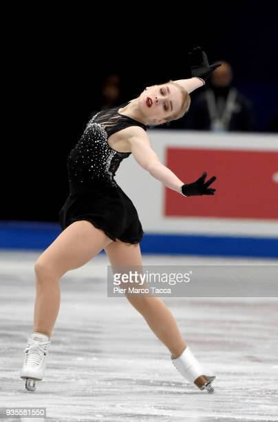 Viveca Lindfors of Finland competes in the Ladies Short Program on day one of the World Figure Skating Championships at the Mediolanum Forum on March...