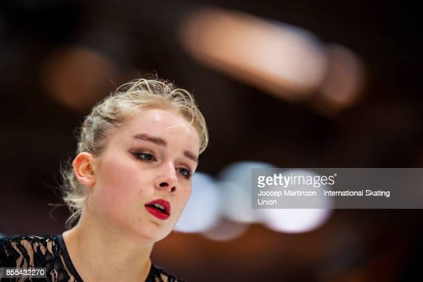 Viveca Lindfors of Finland competes in the Ladies Short Program during the Nebelhorn Trophy 2017 at Eissportzentrum on September 29 2017 in...