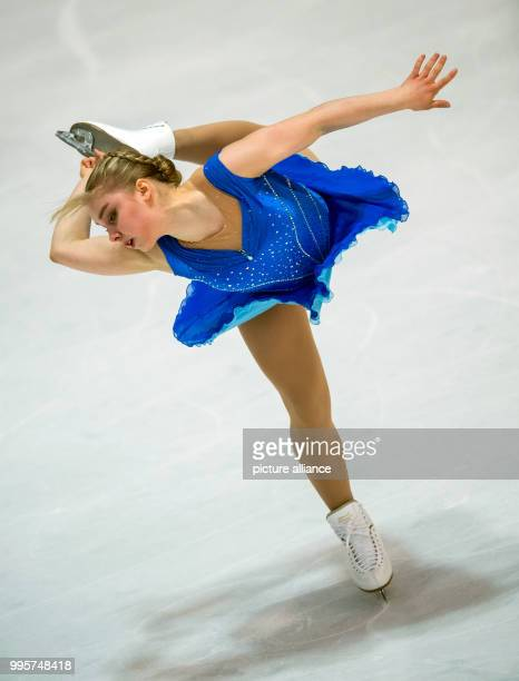 Viveca Lindfors of Finland in action during the women's free skating event at the Challenger Series Nebelhorn Trophy figure skating competition in...