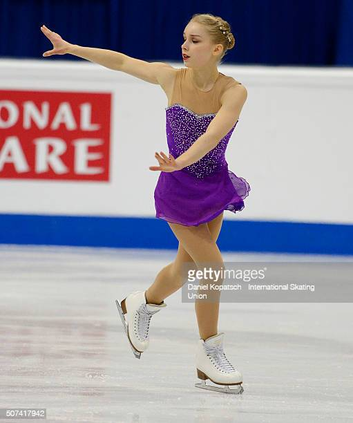 Viveca Lindfors of Finland performs during the Ladies Free Skating during day three of the ISU European Figure Skating Championships 2016 on January...