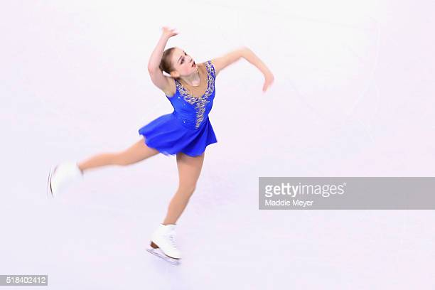 Viveca Lindfors of Finland skates in the Ladies Short Program during Day 4 of the ISU World Figure Skating Championships 2016 at TD Garden on March...