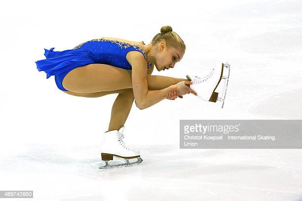 Viveca Linfors of Finland skates during the junior ladies short programm of the ISU Junior Grand Prix at TorTor Arena on September 24 2015 in Torun...