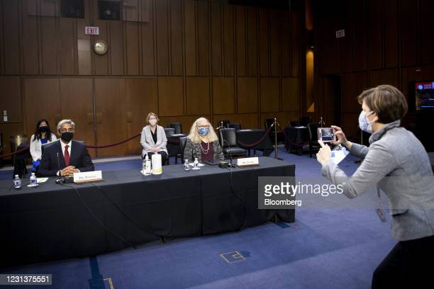 Vivek Murthy, U.S. Surgeon general nominee for U.S. President Joe Biden, left, and Rachel Levine, assistant secretary of Health and Human Services...