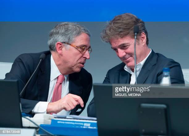 Vivendi's Chairman of the Supervisory Board, Arnaud de Puyfontaine and Telecom Italia CEO's Flavio Cattaneo attend the General meeting of...