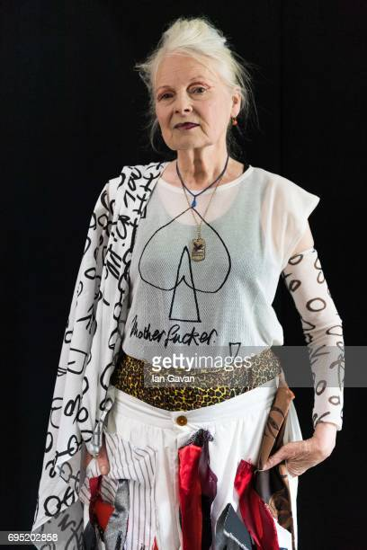 Vivenne Westwood backstage ahead of her show during the London Fashion Week Men's June 2017 collections on June 12, 2017 in London, England.