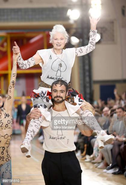 Vivenne Westwood walks the runway at the Vivenne Westwood show during the London Fashion Week Men's June 2017 collections on June 12 2017 in London...