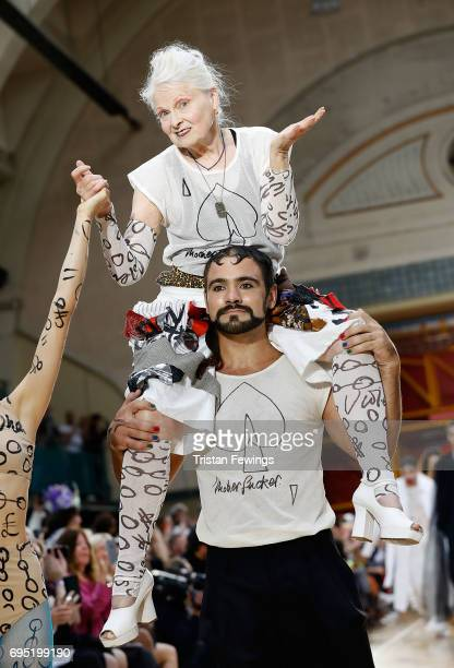 Vivenne Westwood walks the runway at the Vivenne Westwood show during the London Fashion Week Men's June 2017 collections on June 12, 2017 in London,...