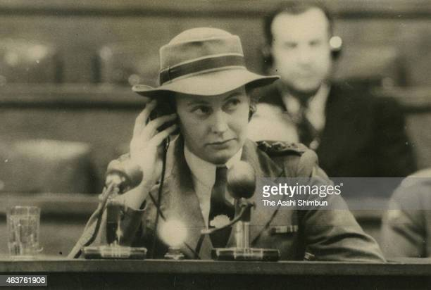 Vivian Bullwinkel solo survivor of the Bangka Island Massacre attends the court as a witness on December 20 1946 in Tokyo Japan