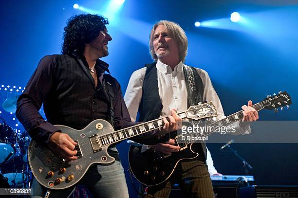 Vivian Campbell and Scott Gorham of Thin Lizzy perform at the Best Buy Theater on March 25, 2011 in New York City.