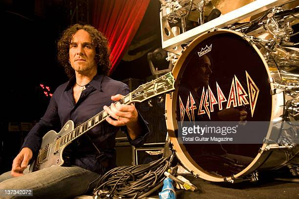 Vivian Campbell of English hard rock group Def Leppard posing with his Gibson Les Paul Custom guitar during a soundcheck at the O2 Academy in London,...