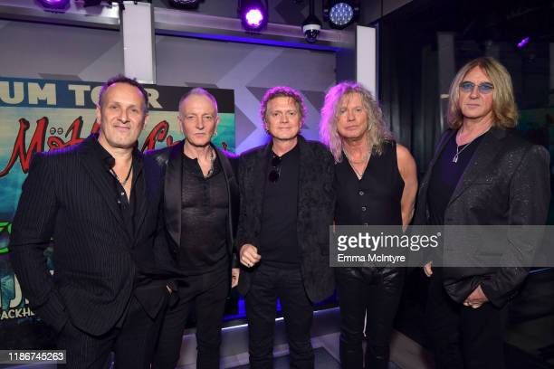 Vivian Campbell Phil Collen Rick Allen Rick Savage and Joe Elliott of Def Leppard speaks during the press conference for THE STADIUM TOUR DEF LEPPARD...