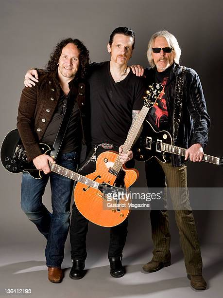 Vivian Campbell, Ricky Warwick and Scott Gorham of hard rock group Thin Lizzy, taken on May 6, 2010 in London.