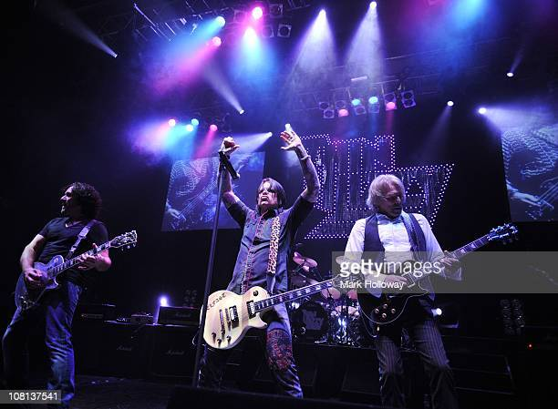 Vivian Campbell, Ricky Warwick and Scott Gorham of Thin Lizzy perform on stage at Southampton Guildhall on January 18, 2011 in Southampton, England.