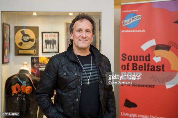 Vivian Campbell unveils his exhibition showcase at the Oh Yeah Music Centre before the NI Music Awards at Mandela Hall on November 11 2017 in Belfast...